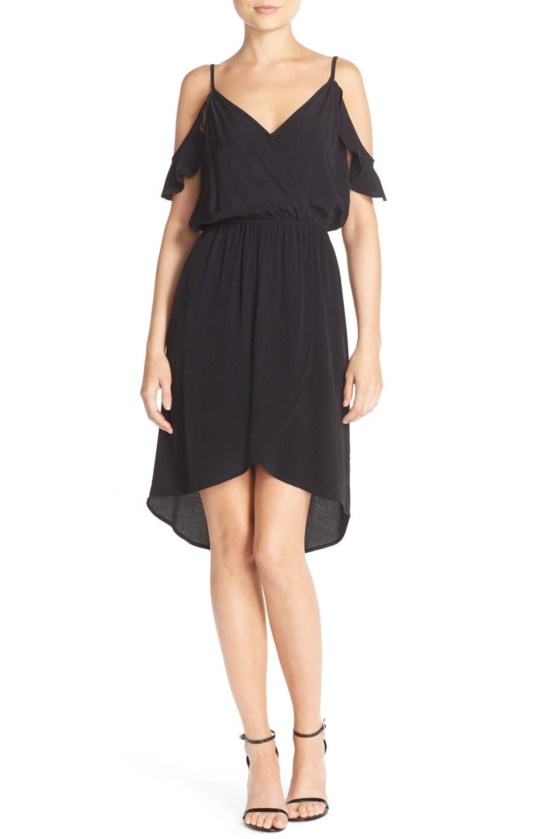Fraiche by J Cold Shoulder Crepe Faux Wrap Dress