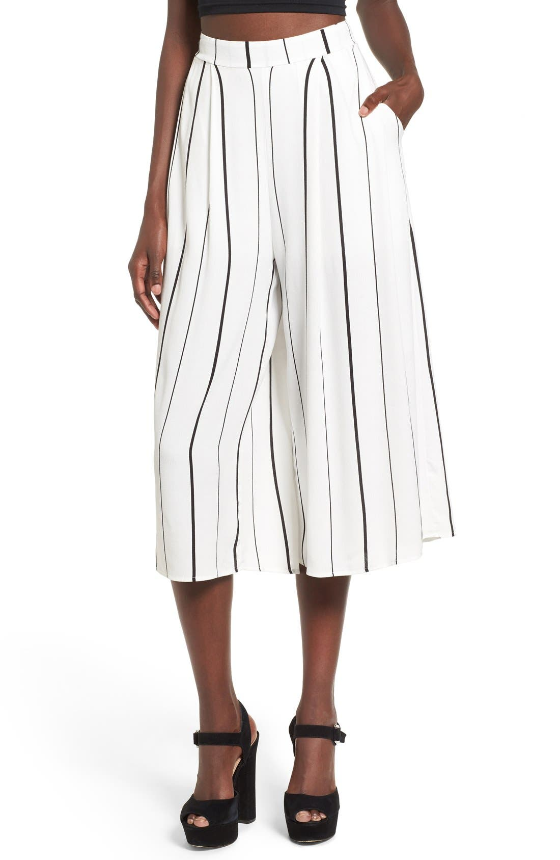 Alternate Image 1 Selected - Leith Stripe Crop Wide Leg Pants