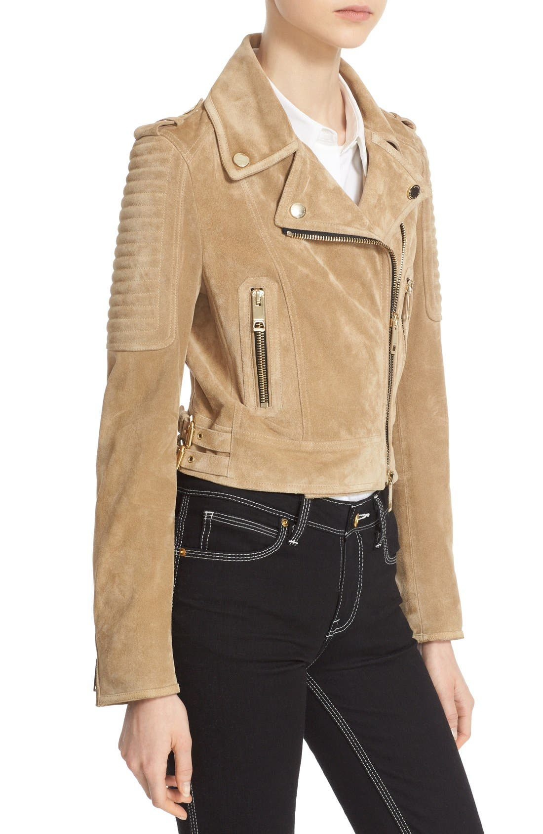 Alternate Image 6  - Burberry 'Peakhurst' Suede Biker Jacket with Removable Genuine Shearling Collar