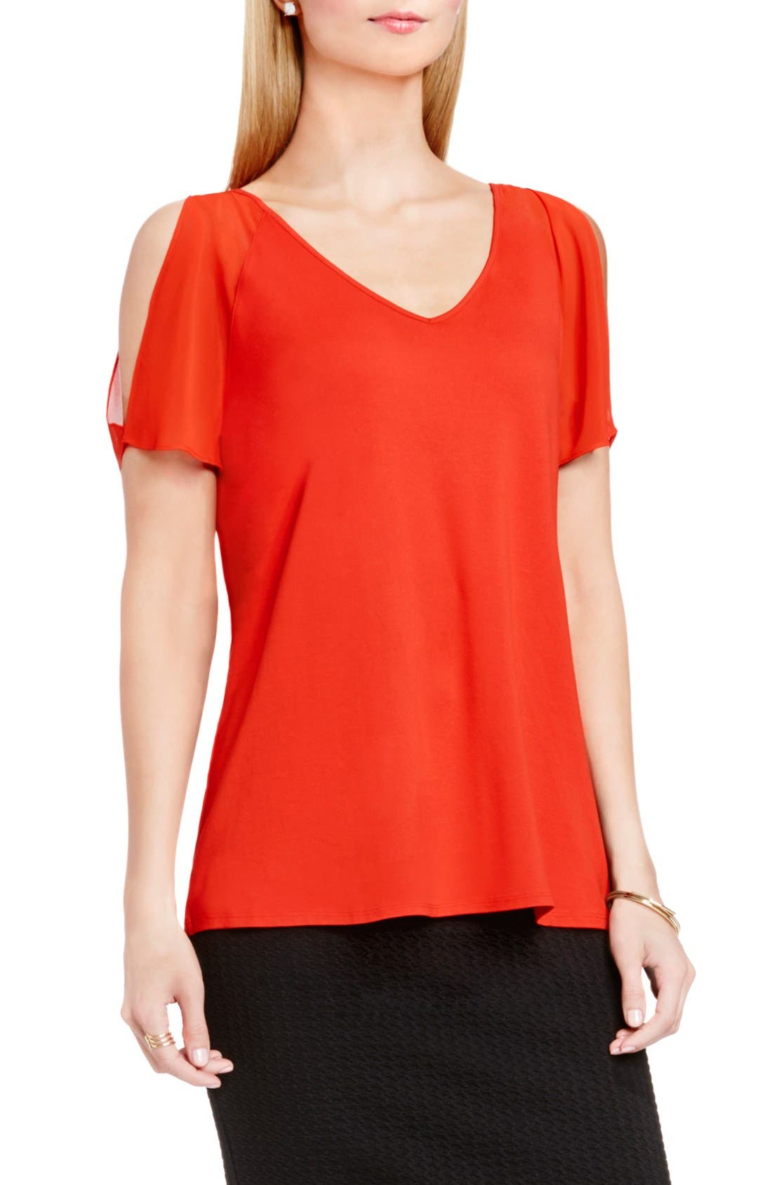 Main Image - Vince Camuto Chiffon Cold Shoulder V-Neck Blouse