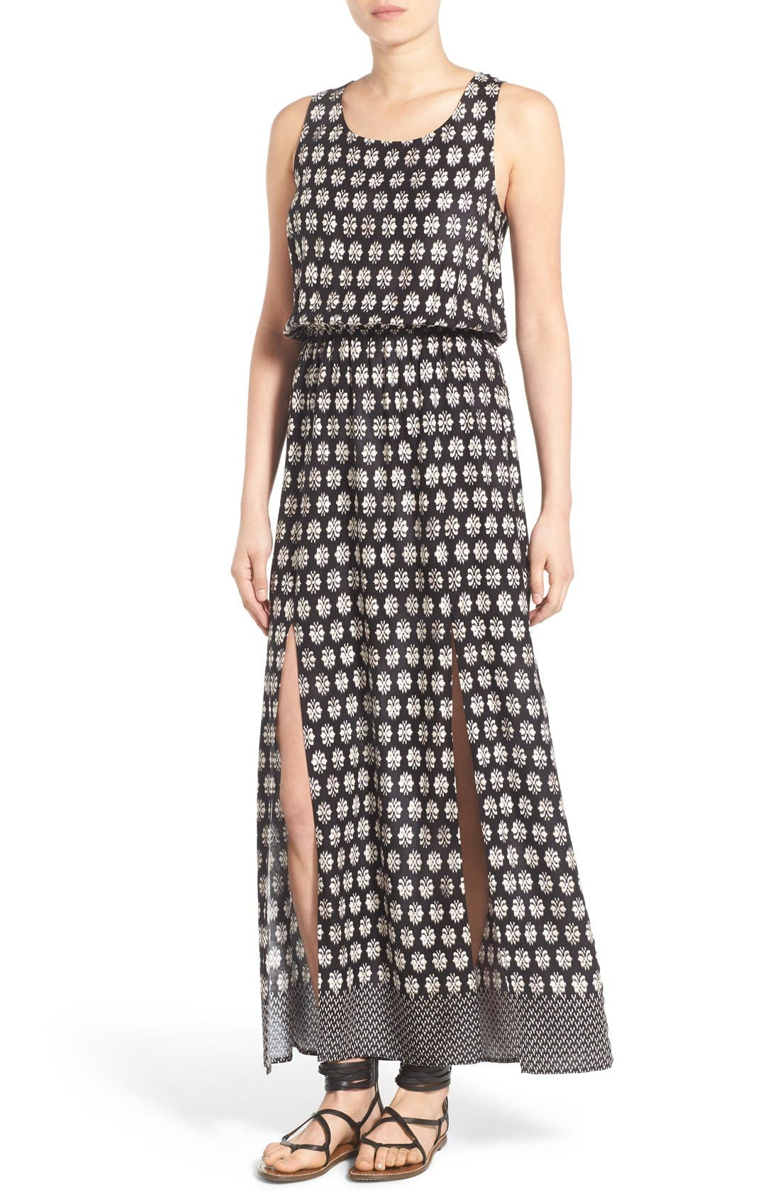 Alternate Image 1 Selected - Mimi Chica Print Lace Up Maxi Dress
