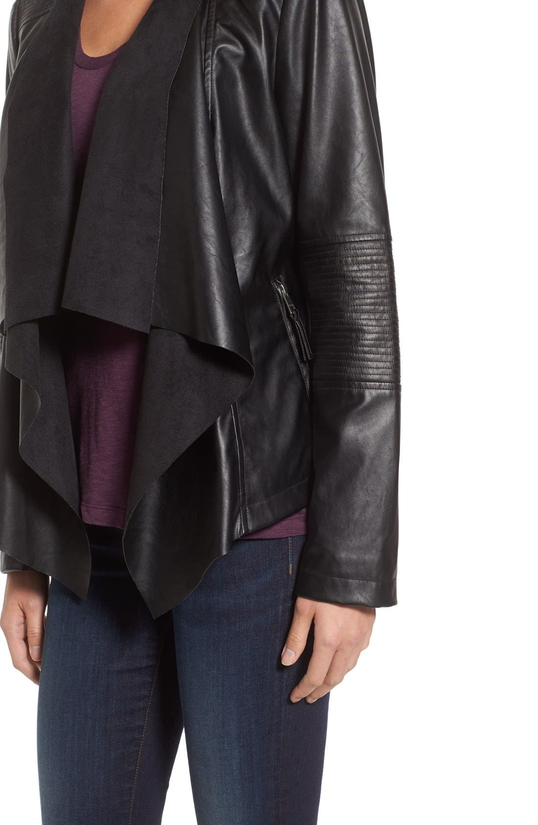 Alternate Image 4  - Levi's® Drape Front Faux Leather Jacket