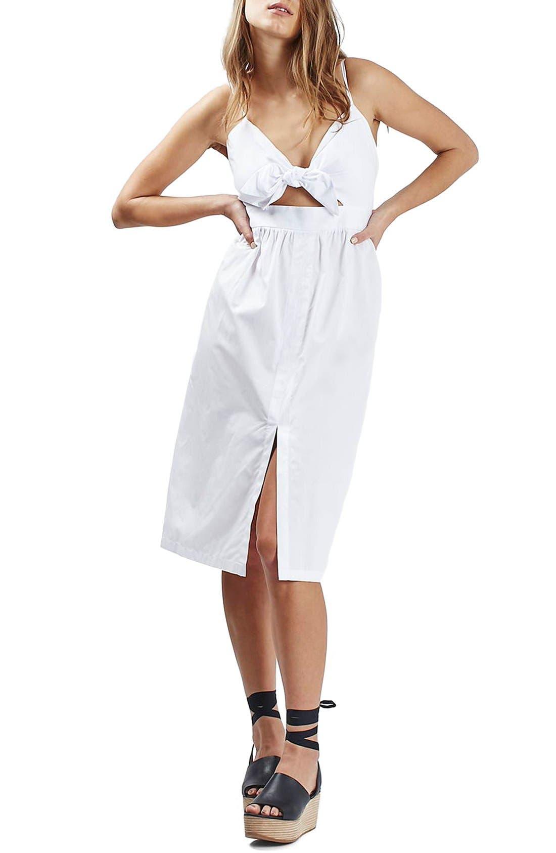 Main Image - Topshop Poplin Cutout Bow Midi Dress (Petite)