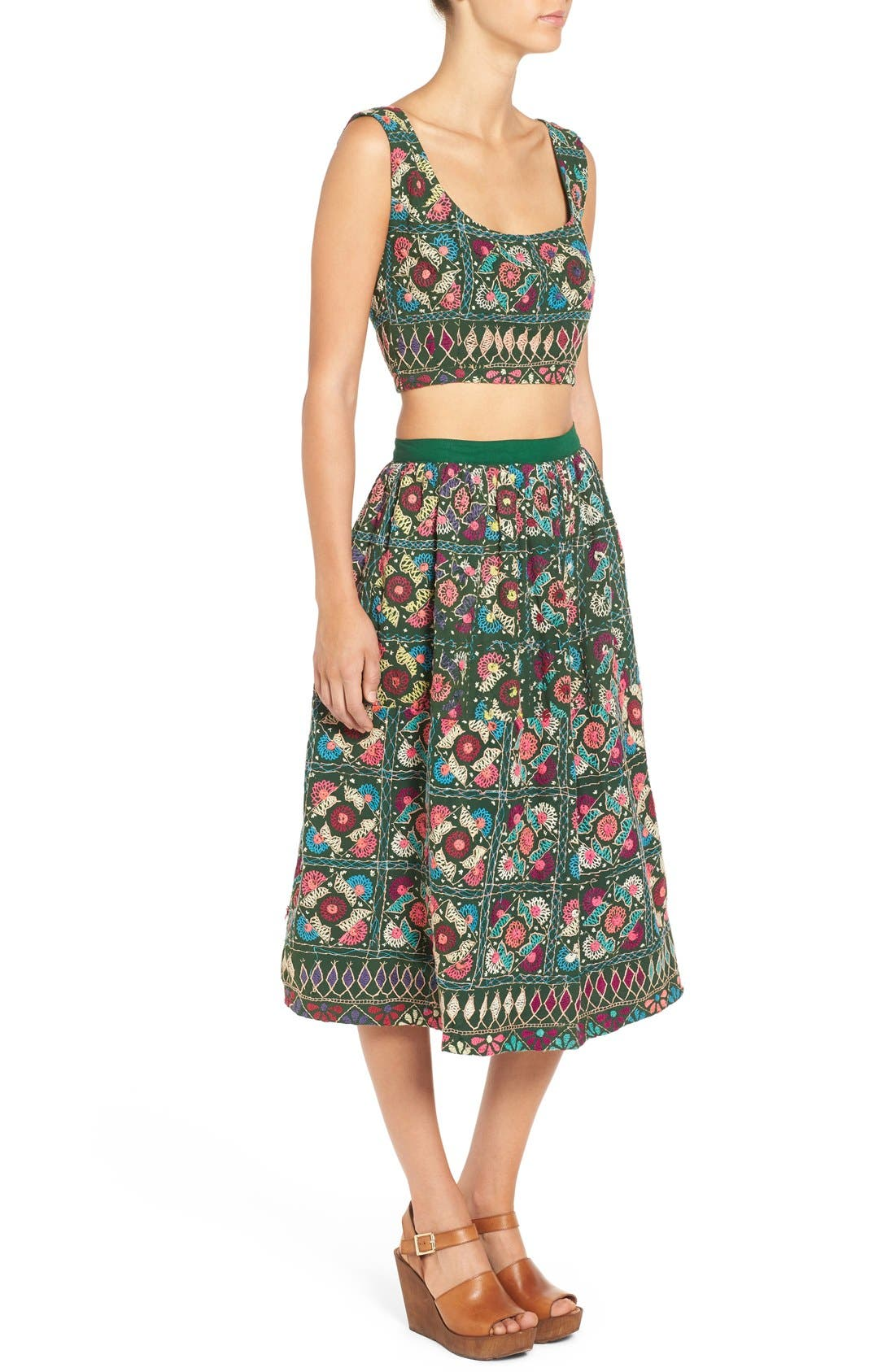 Alternate Image 5  - All Things Mochi Jaipur Print Crop Top & Midi Skirt Set