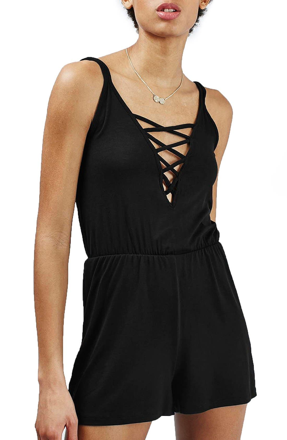 Alternate Image 1 Selected - Topshop Lattice Front Romper