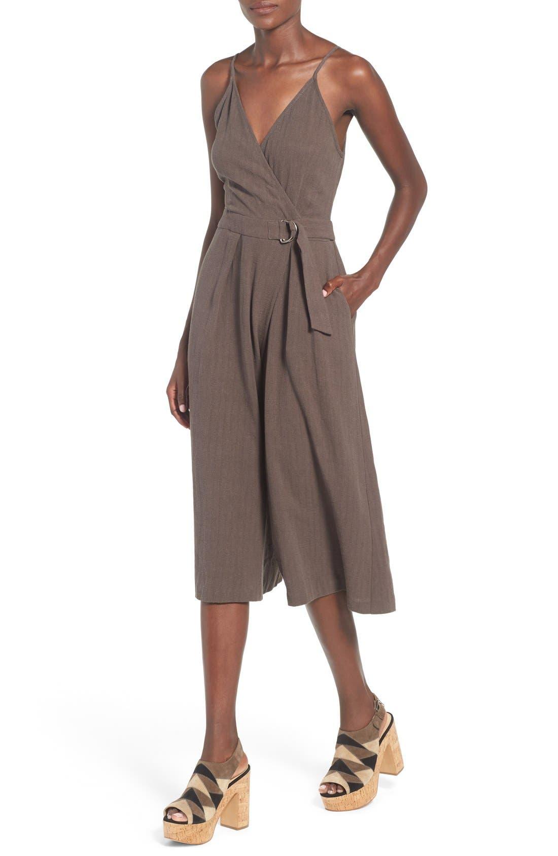 Alternate Image 5  - ASTR 'Peonia' Cotton & Linen Surplice Jumpsuit