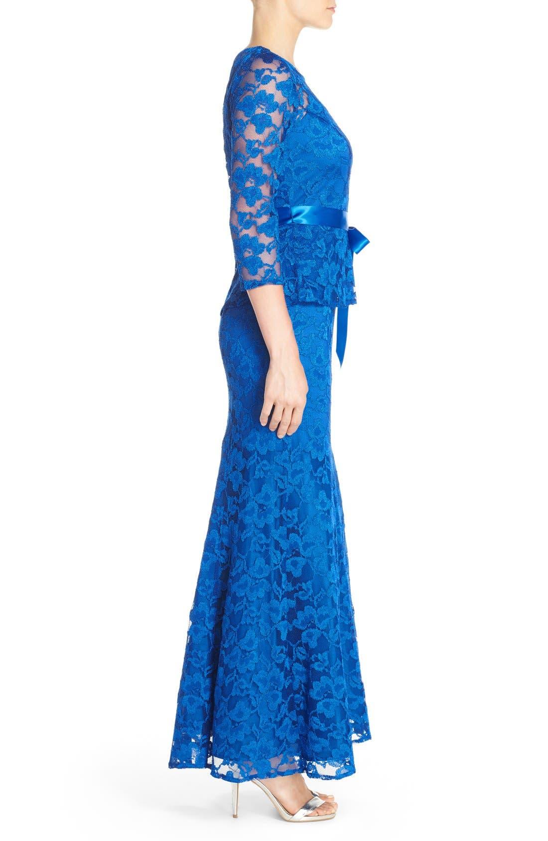 Alternate Image 3  - Chetta B Peplum Lace Mermaid Gown