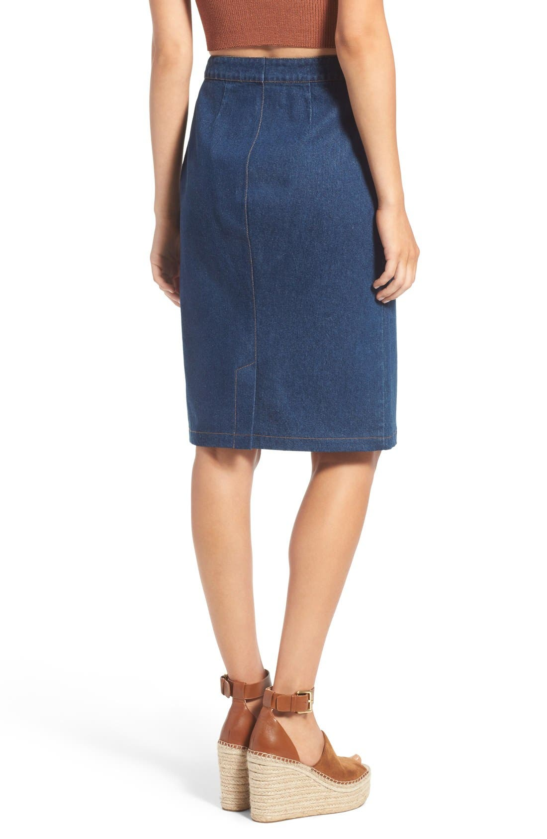 Alternate Image 2  - ASTR 'Francisca' Button Front Denim Skirt