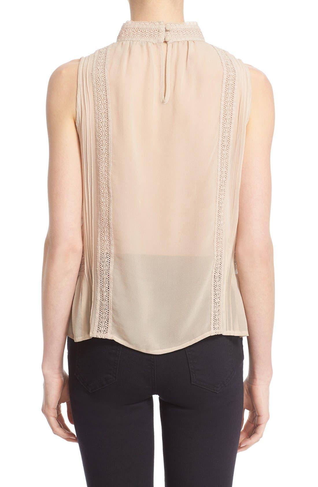 Alternate Image 2  - Joie Lace Trim Sleeveless Silk Blouse