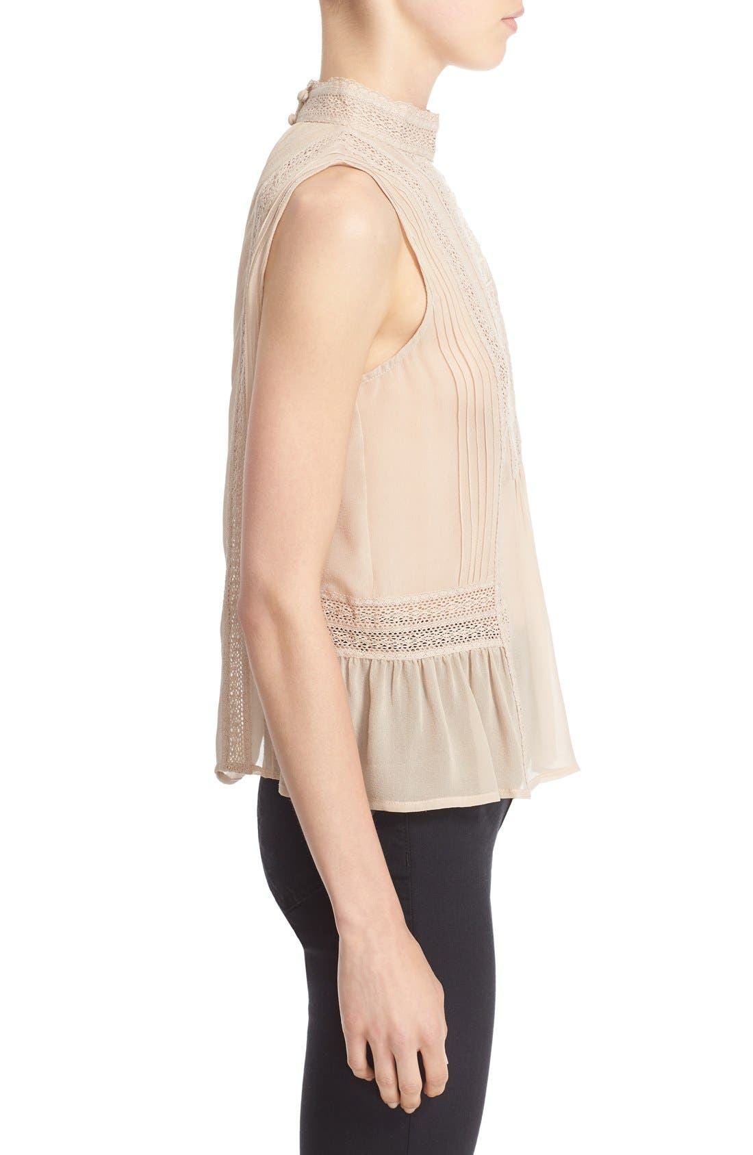 Alternate Image 3  - Joie Lace Trim Sleeveless Silk Blouse