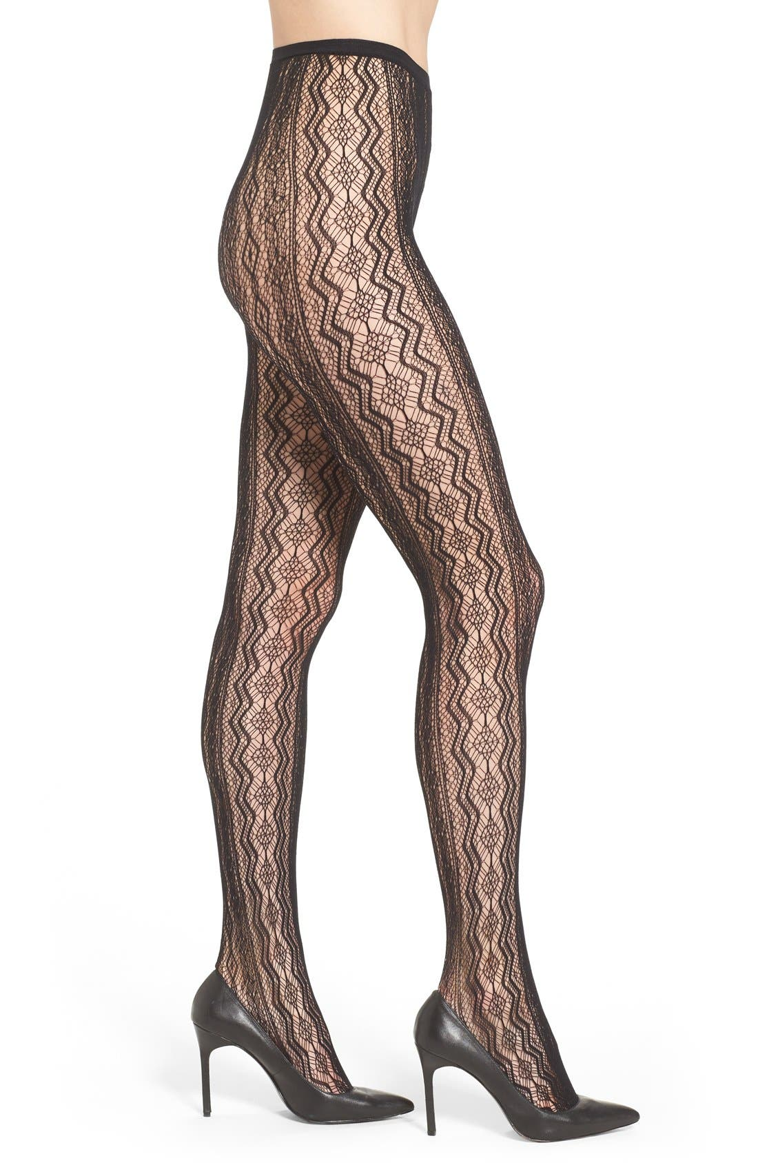 Main Image - Hue Vertical Diamond Net Tights