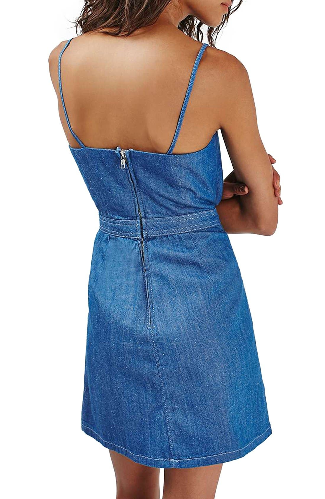 Alternate Image 2  - Topshop Bow Front Denim Minidress (Petite)