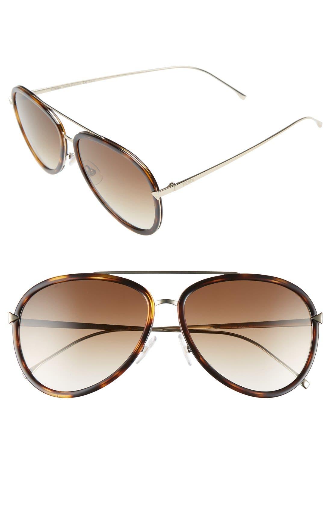 Alternate Image 1 Selected - Fendi 57mm Aviator Sunglasses