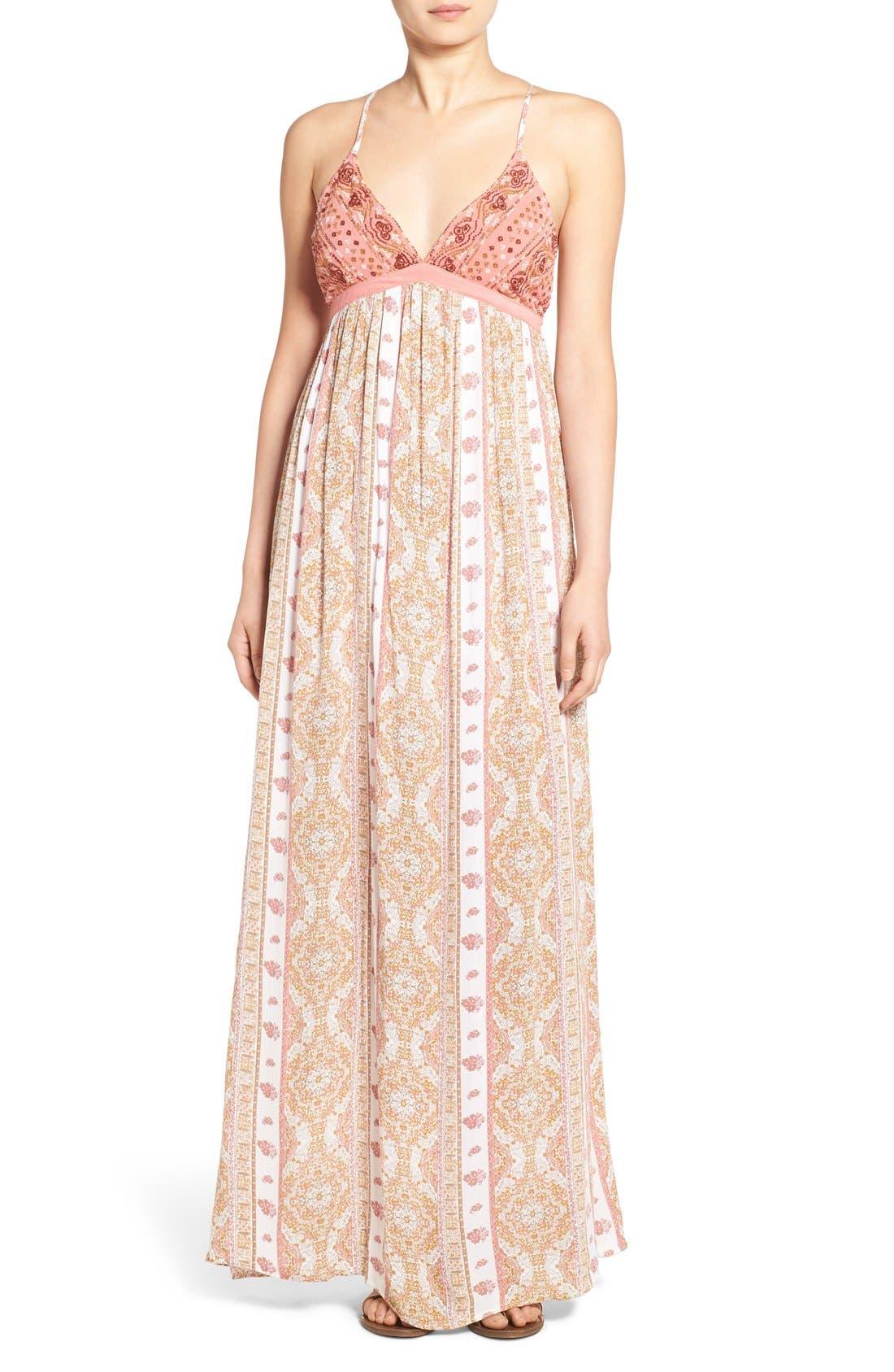 Alternate Image 1 Selected - O'Neill 'Della' Embroidered Woven Maxi Dress