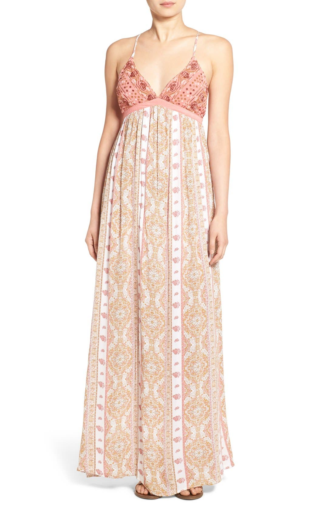 Main Image - O'Neill 'Della' Embroidered Woven Maxi Dress