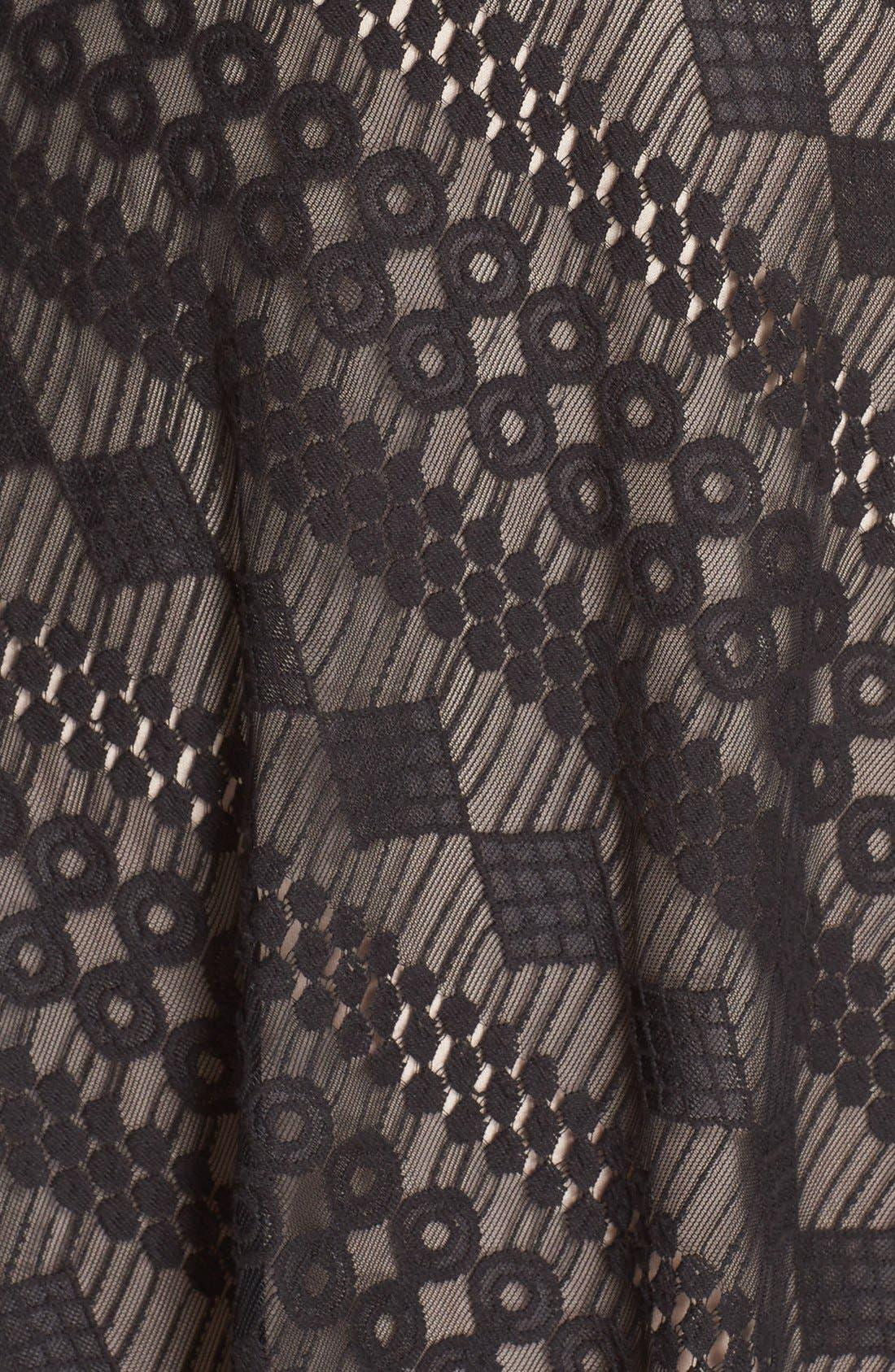 Alternate Image 5  - London Times Geo Stripe Lace Asymmetrical Hem Dress (Plus Size)