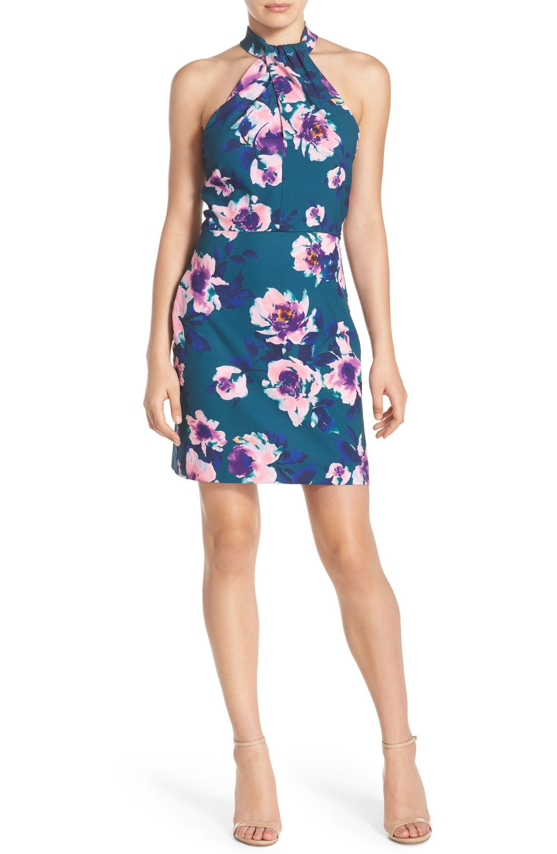 Alternate Image 4  - Charles Henry Floral Print Halter Dress