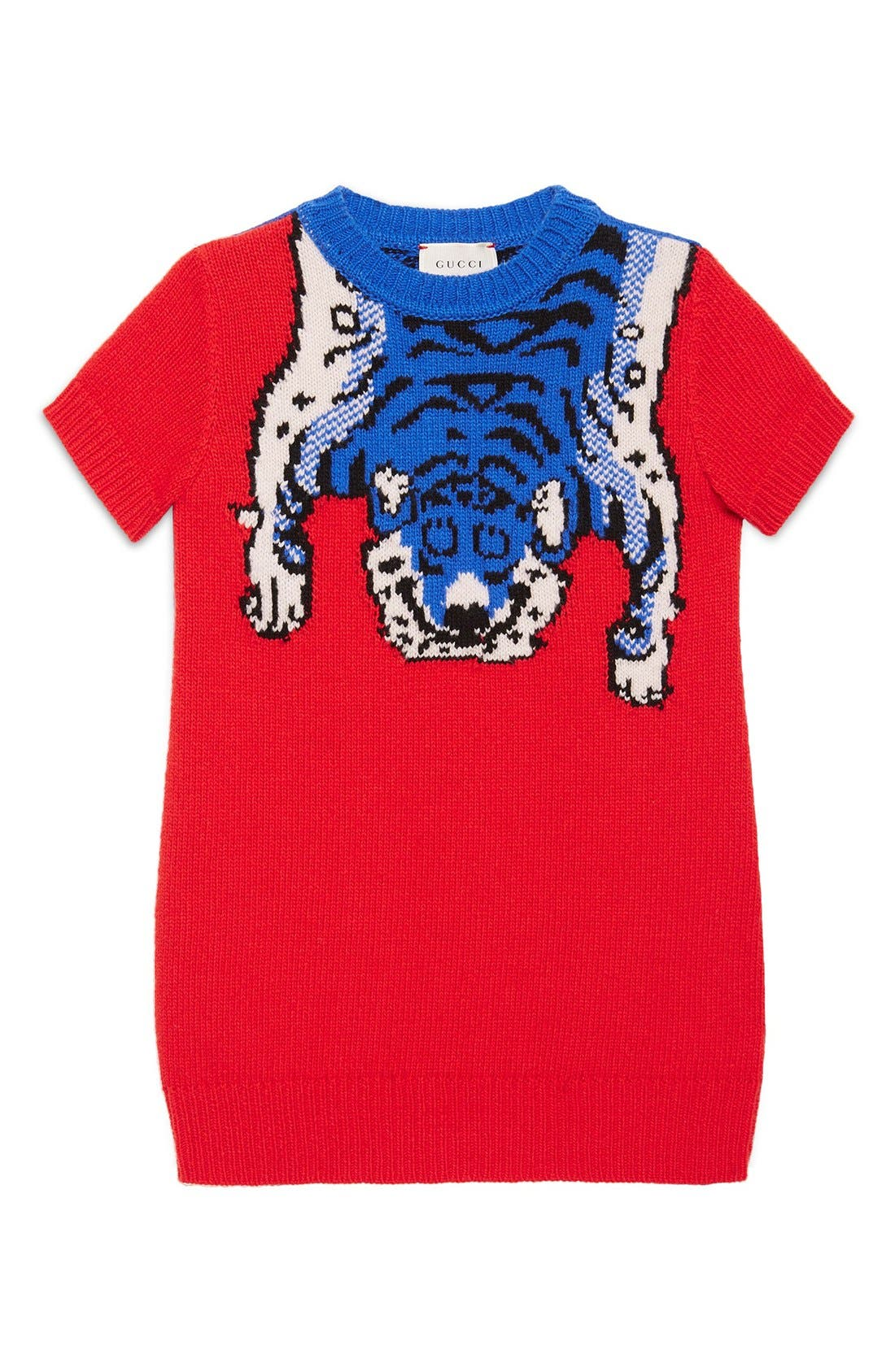 GUCCI Intarsia Tiger Wool Sweater Dress