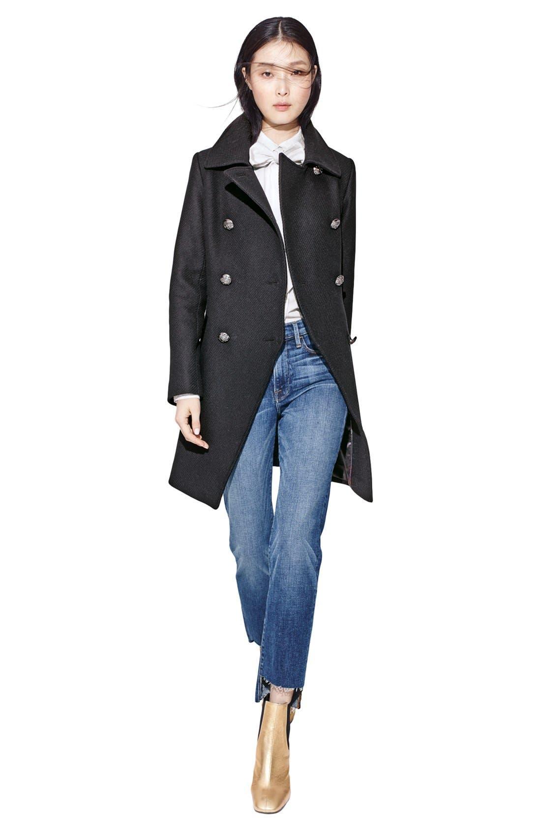 Alternate Image 6  - Trina Turk Wool Blend Military Coat (Regular & Petite)
