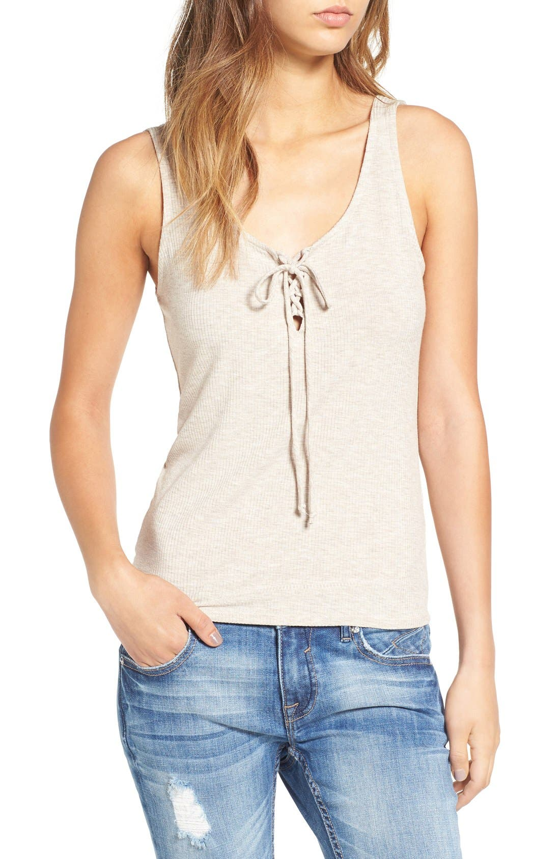 BP. Lace-Up Ribbed Tank