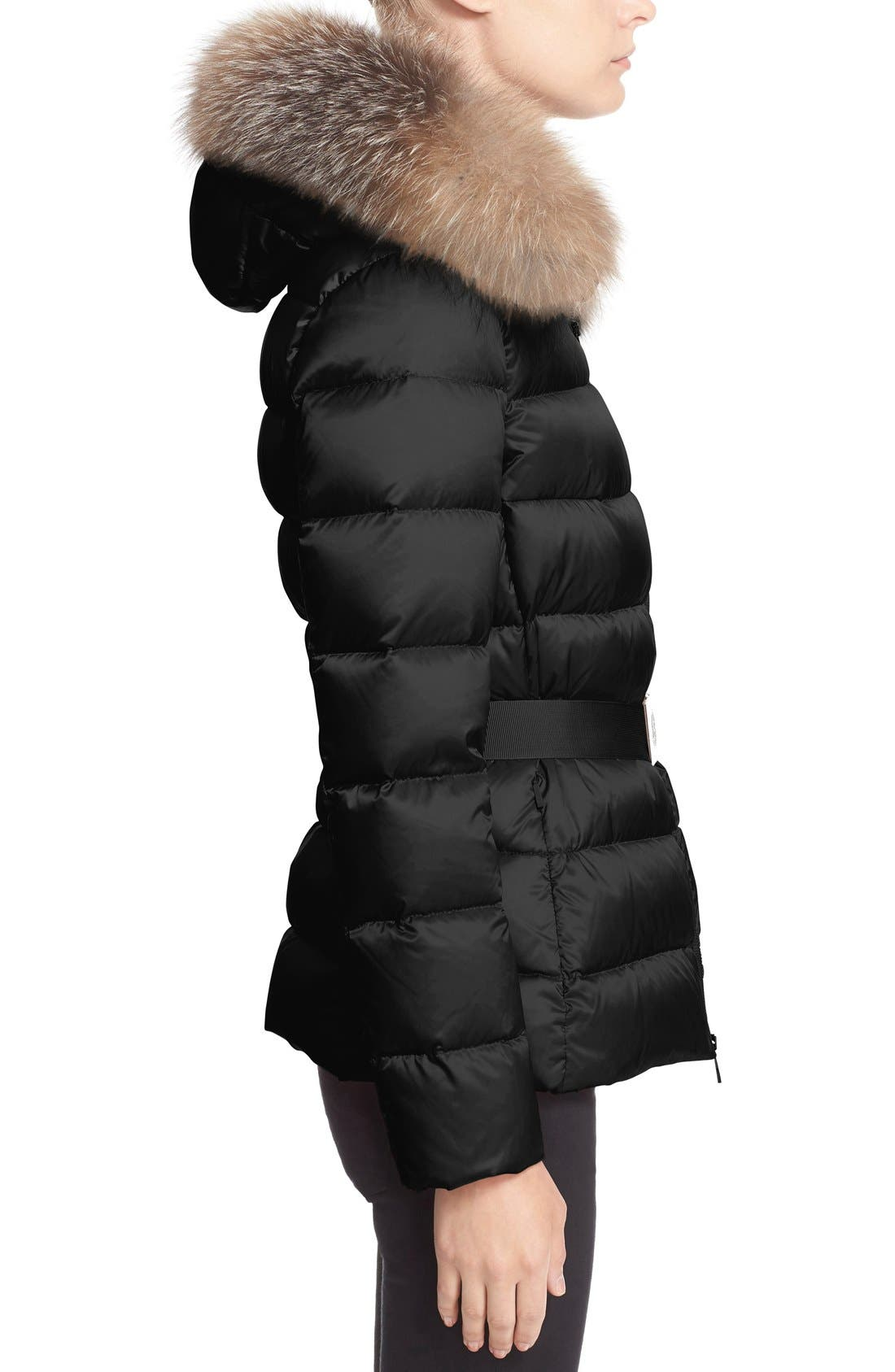 Alternate Image 4  - Moncler 'Tatie' Belted Down Puffer Coat with Removable Genuine Fox Fur Trim