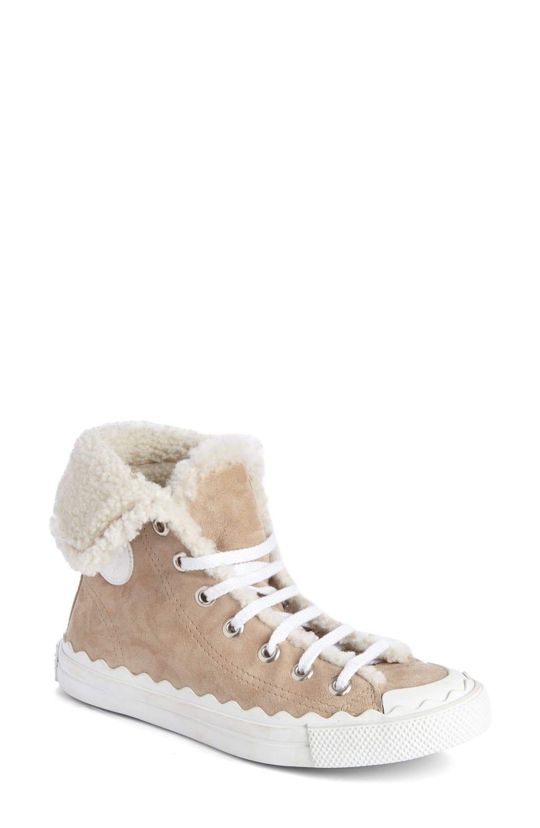 Chloé 'Kyle' Genuine Shearling Sneaker (Women)