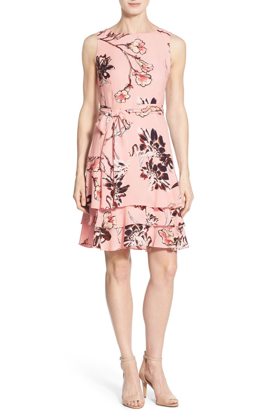 Main Image - Ivanka Trump Floral Print Tiered A-Line Dress