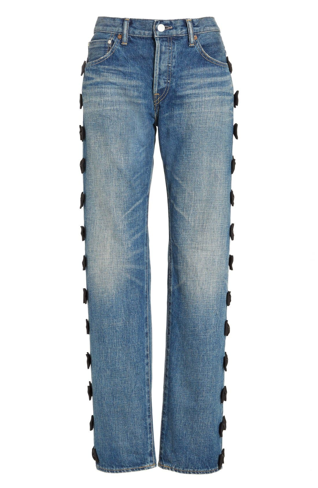 Alternate Image 4  - Tu es mon TRÉSOR Grosgrain Bow Embellished Jeans