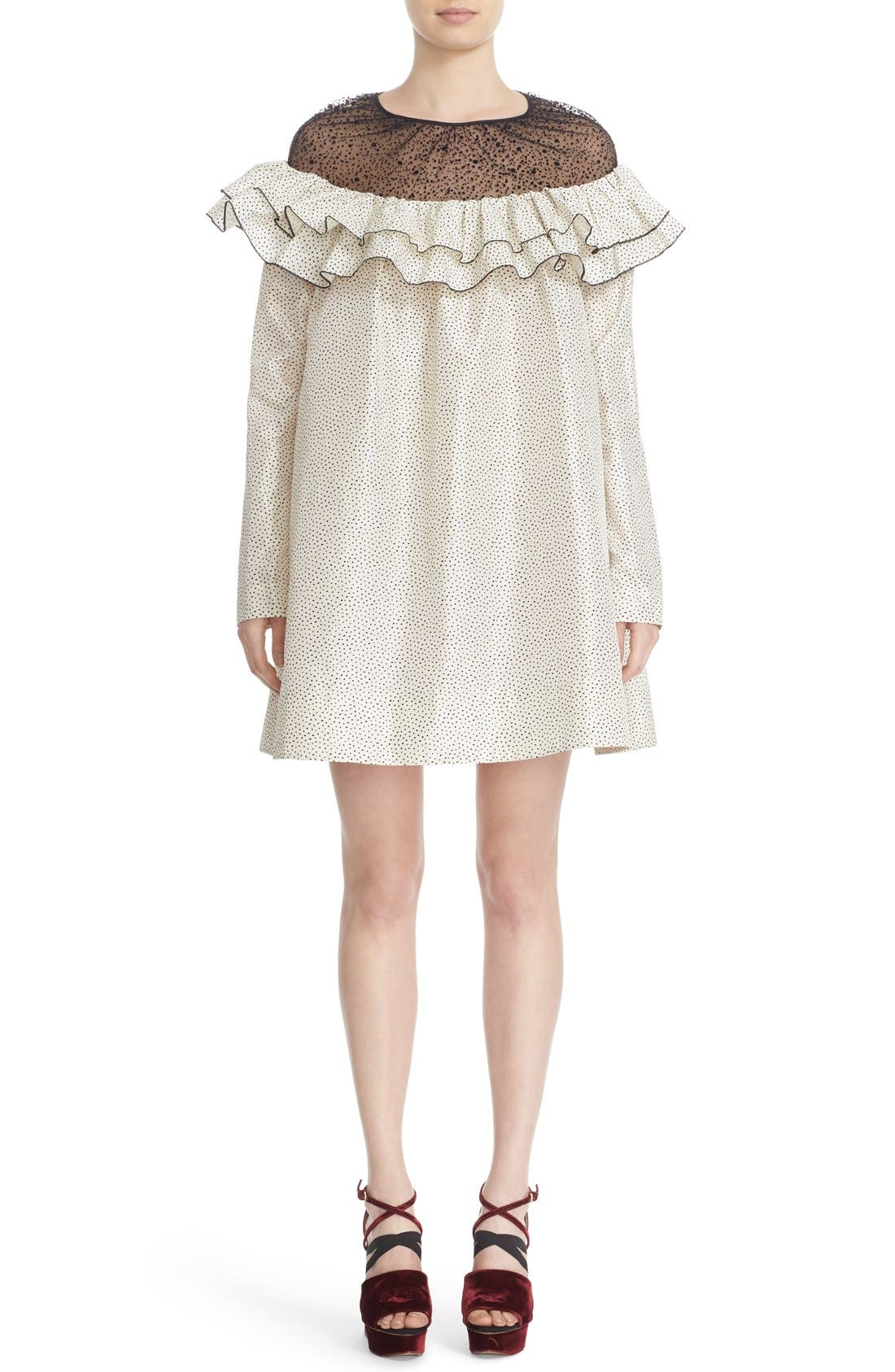 Main Image - Isa Arfen Ruffle Illusion Yoke Shift Dress