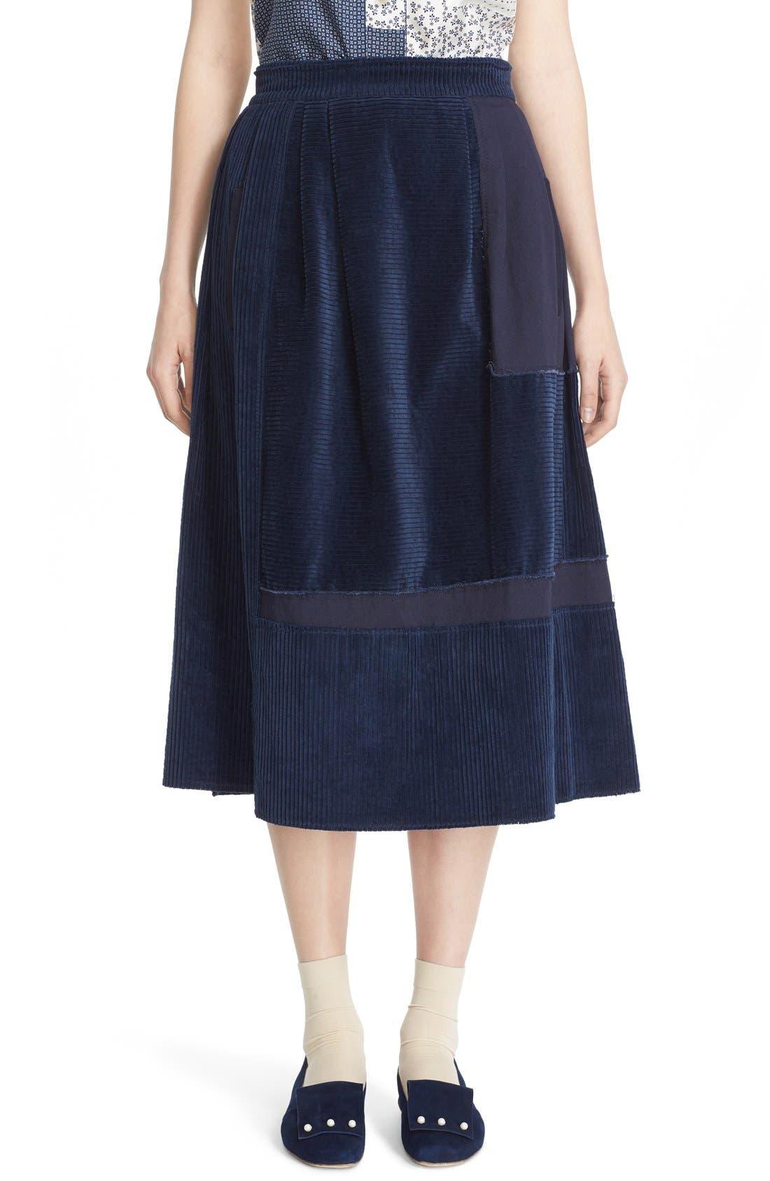 Alternate Image 1  - steventai Corduroy & Denim Patchwork Midi Skirt