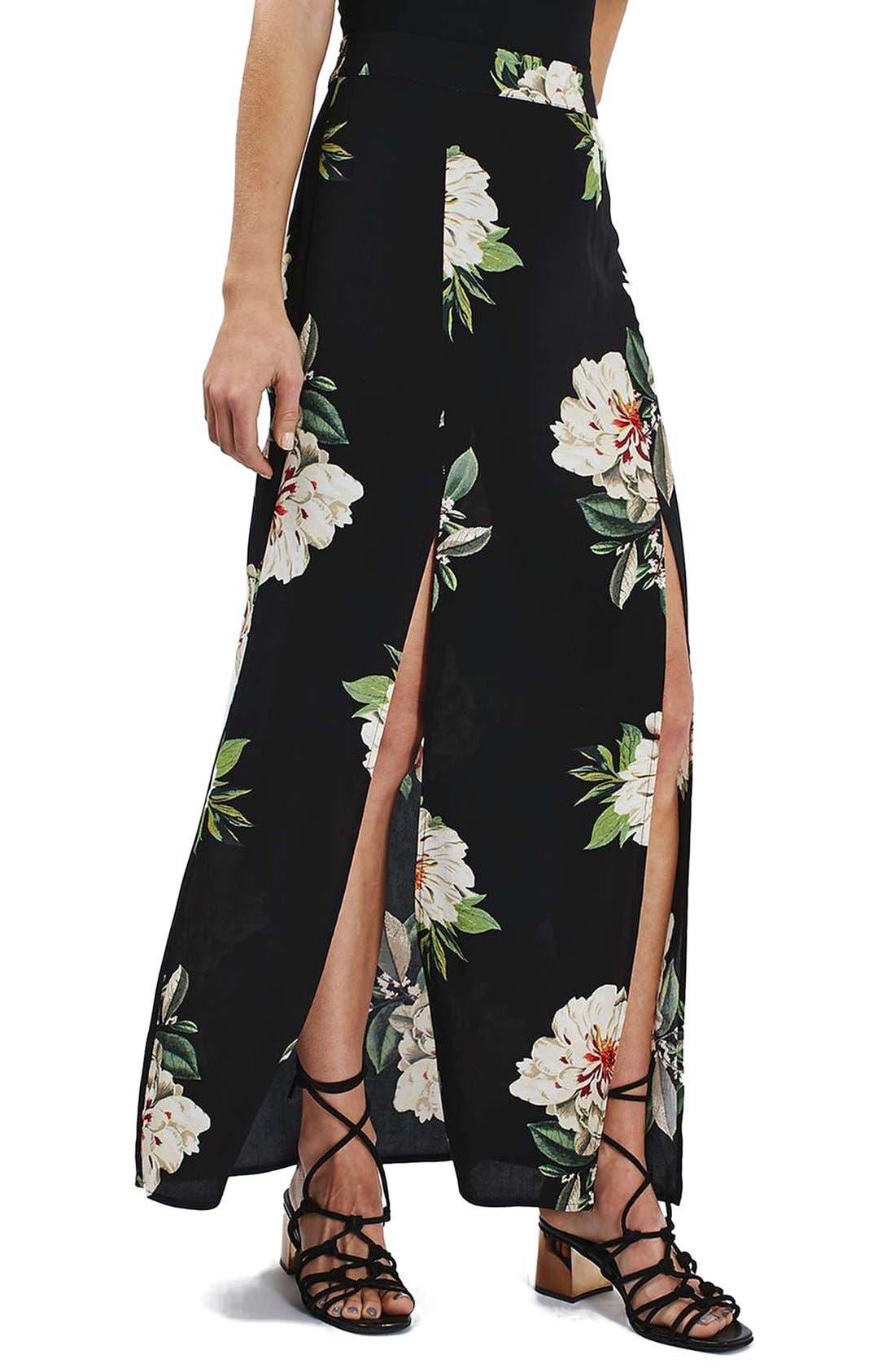 Main Image - Topshop Floral Print Maxi Skirt