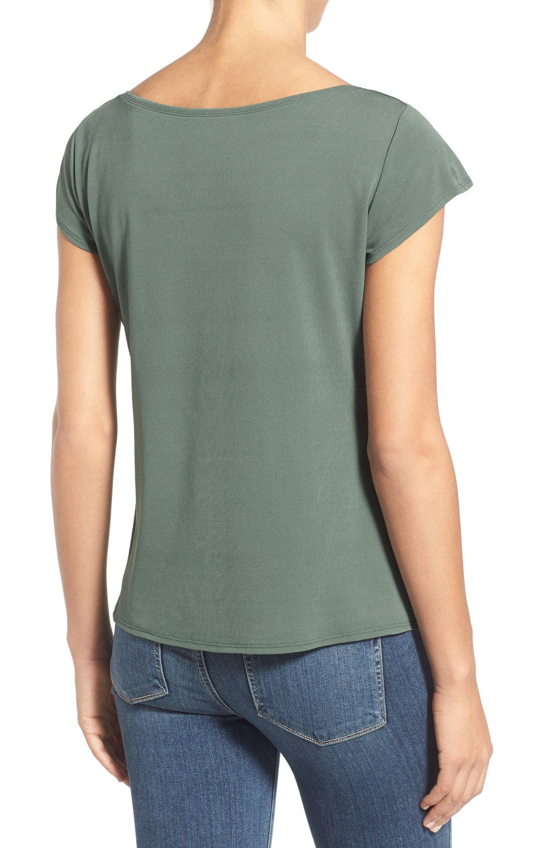 Alternate Image 2  - Eileen Fisher Cap Sleeve Silk Tee (Regular & Petite)