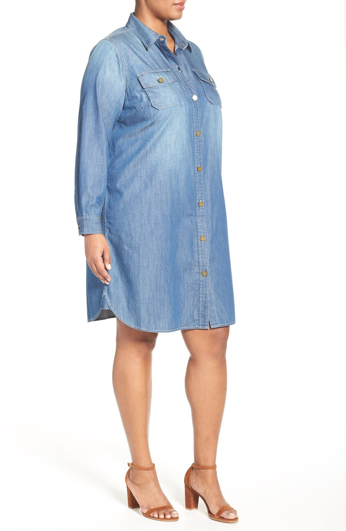 Alternate Image 3  - Two by Vince Camuto Denim Shirtdress (Plus Size)