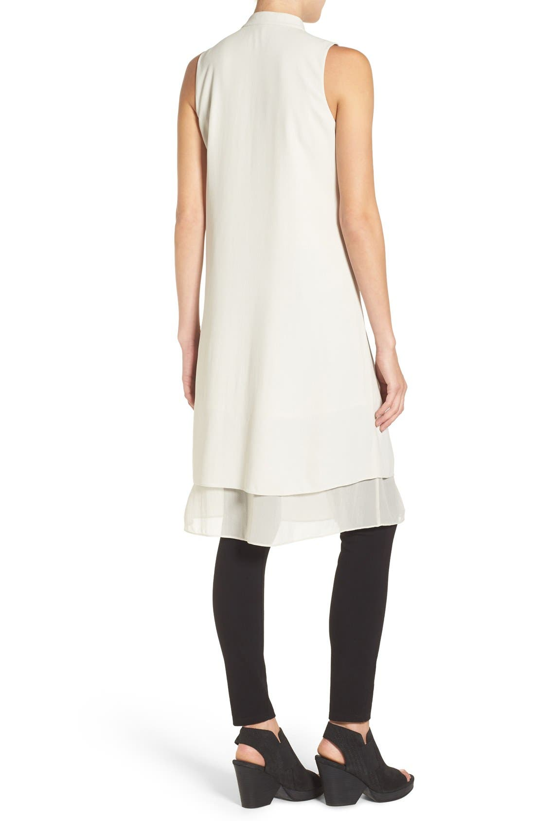 Alternate Image 2  - Eileen Fisher Chiffon Hem Sleeveless Mandarin Collar Silk Georgette Shirtdress