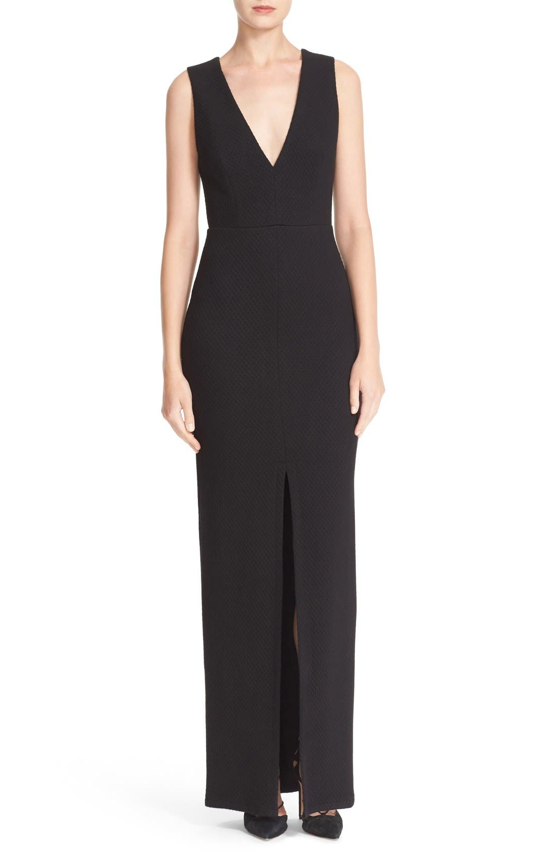 ALICE + OLIVIA Slit Front V-Neck Maxi Dress