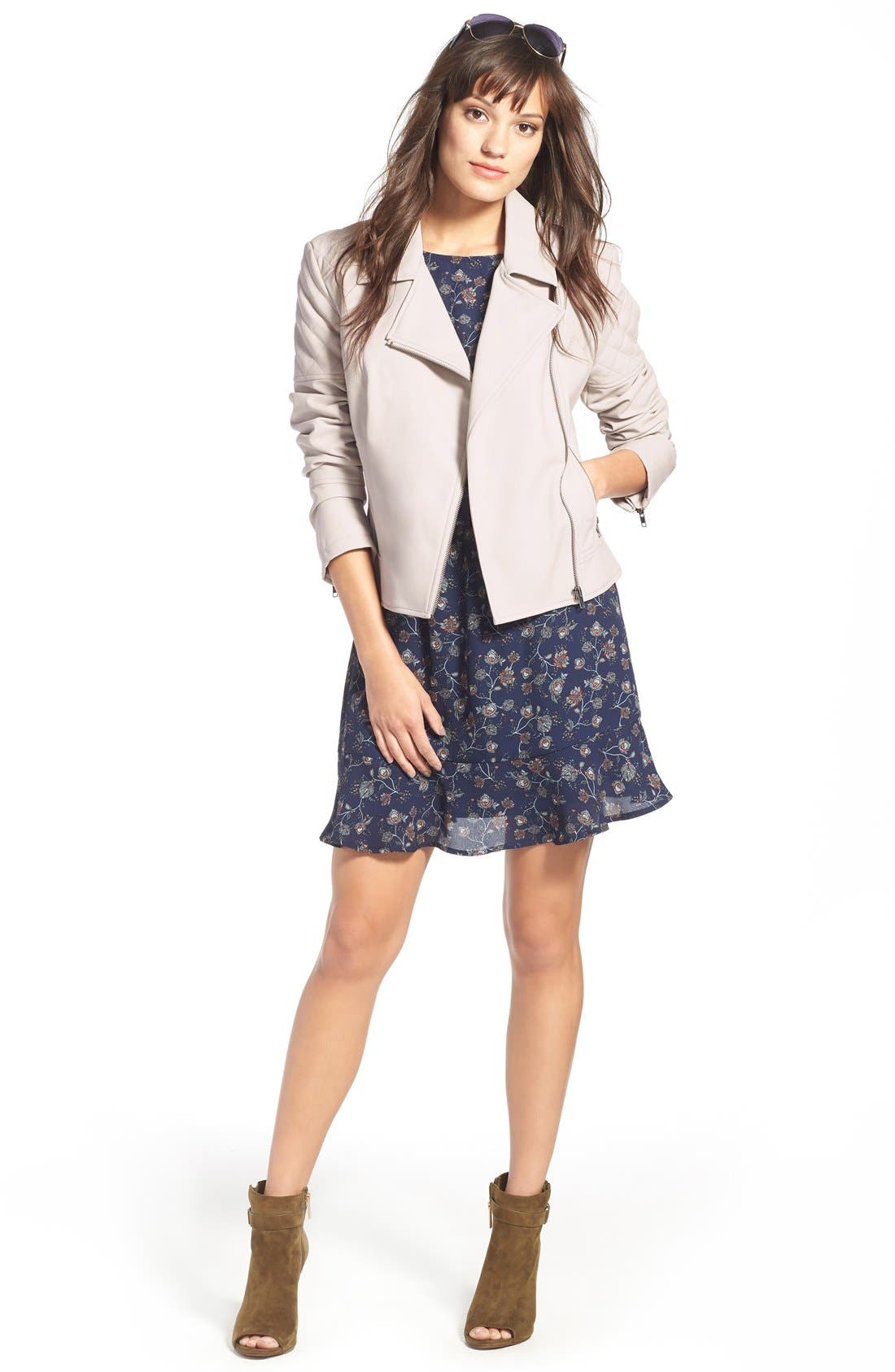 Alternate Image 2  - cupcakes and cashmere 'Breck' Faux Leather Moto Jacket