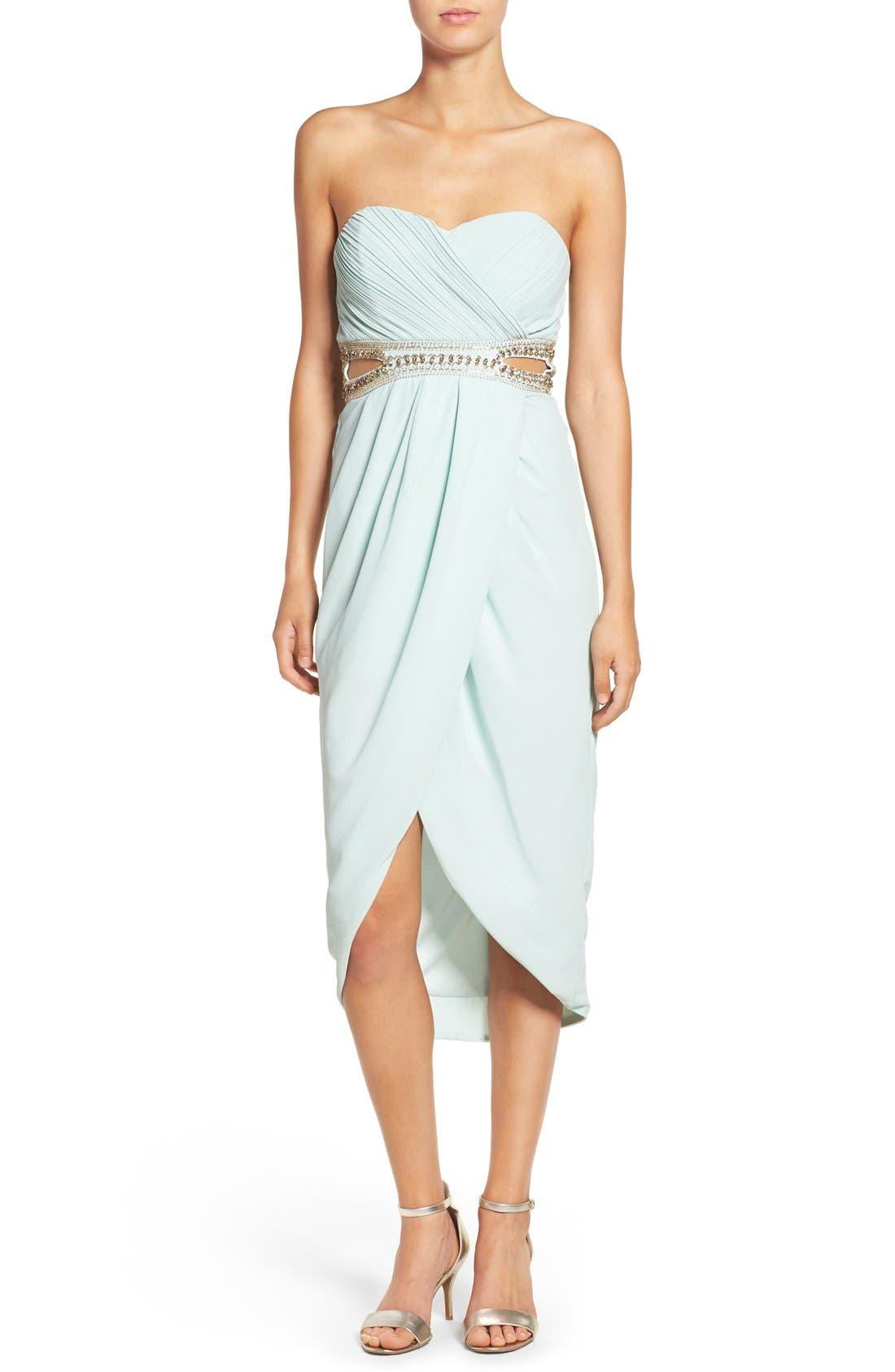 Main Image - TFNC 'Catalina' Embellished Strapless Midi Dress