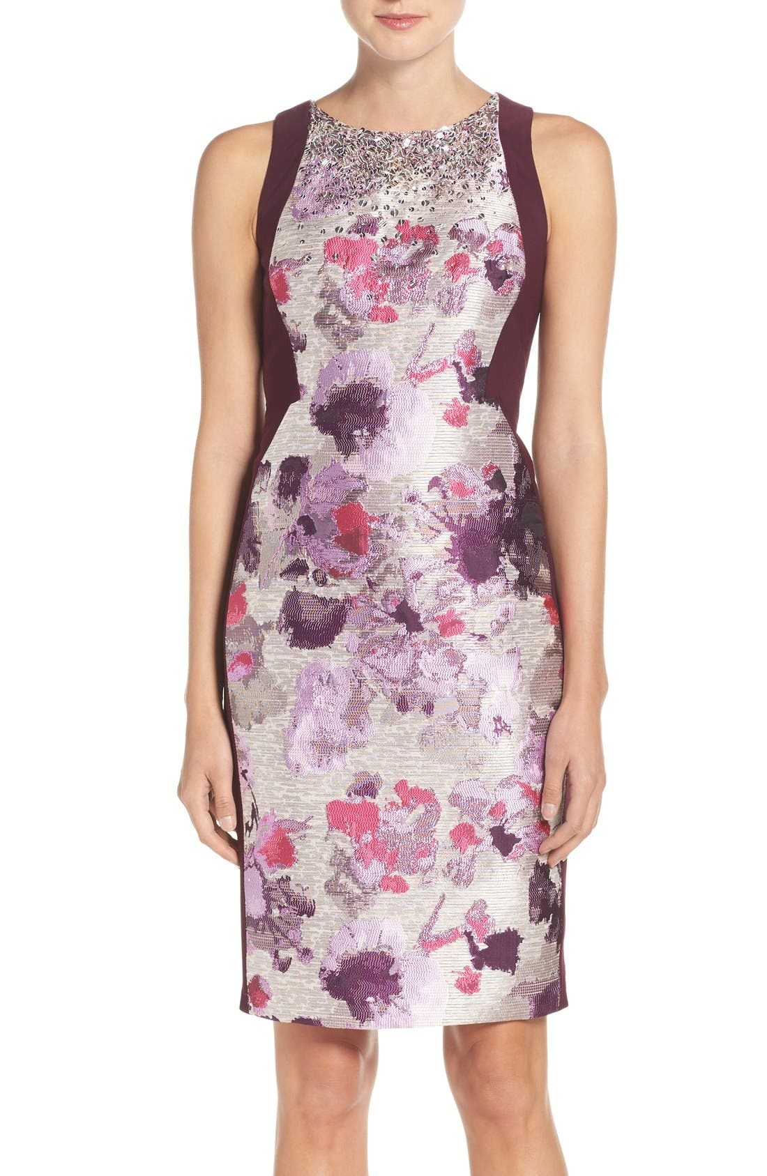 Alternate Image 1 Selected - Adrianna Papell Embellished Jacquard & Jersey Sheath Dress