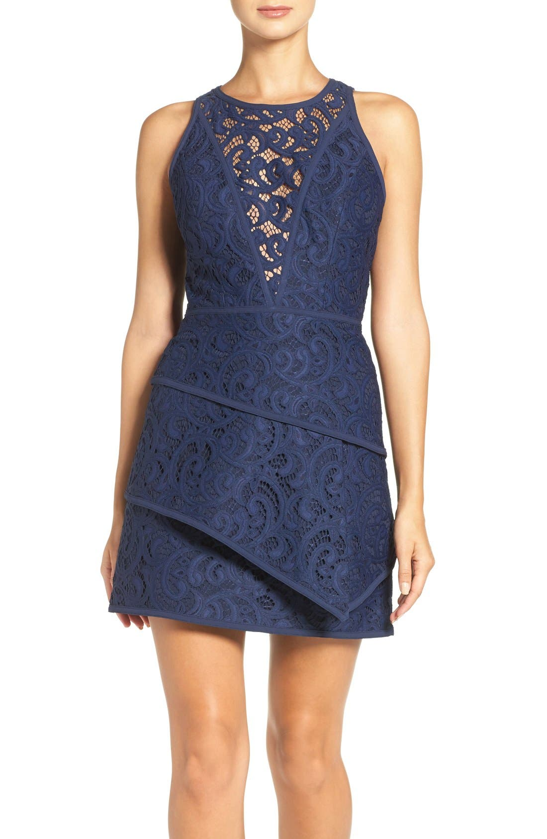 Main Image - BCBGMAXAZRIA 'Hannah' Tiered Lace Fit & Flare Dress