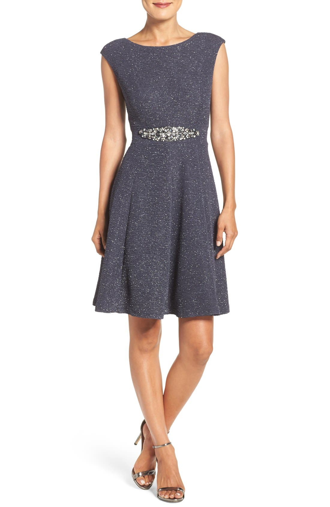 Eliza J Embellished Glitter Knit Fit & Flare Dress