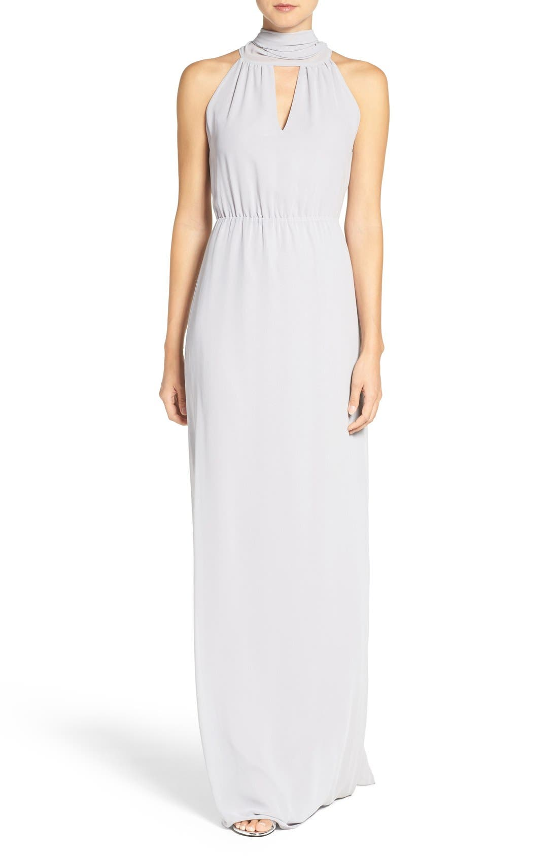 CEREMONY BY JOANNA AUGUST 'Riggs' Halter V-Neck Chiffon