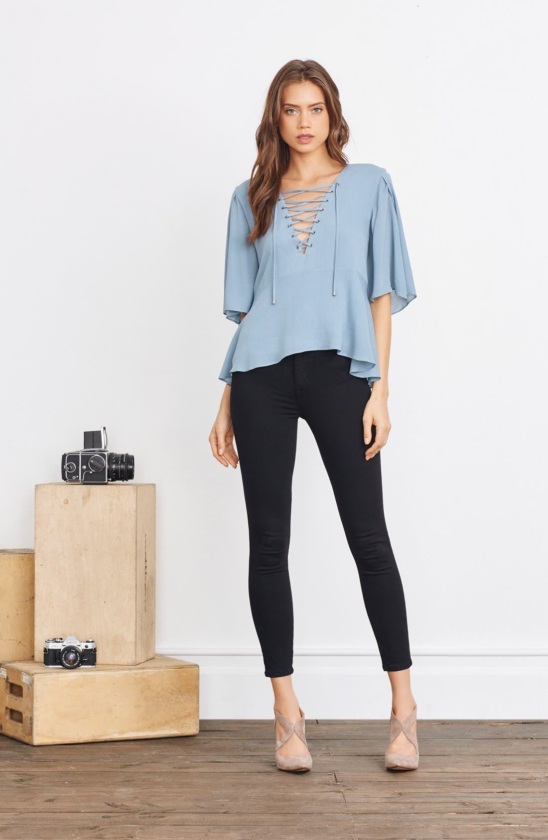 Alternate Image 2  - Lovers + Friends 'Boulevard' Lace-Up Top