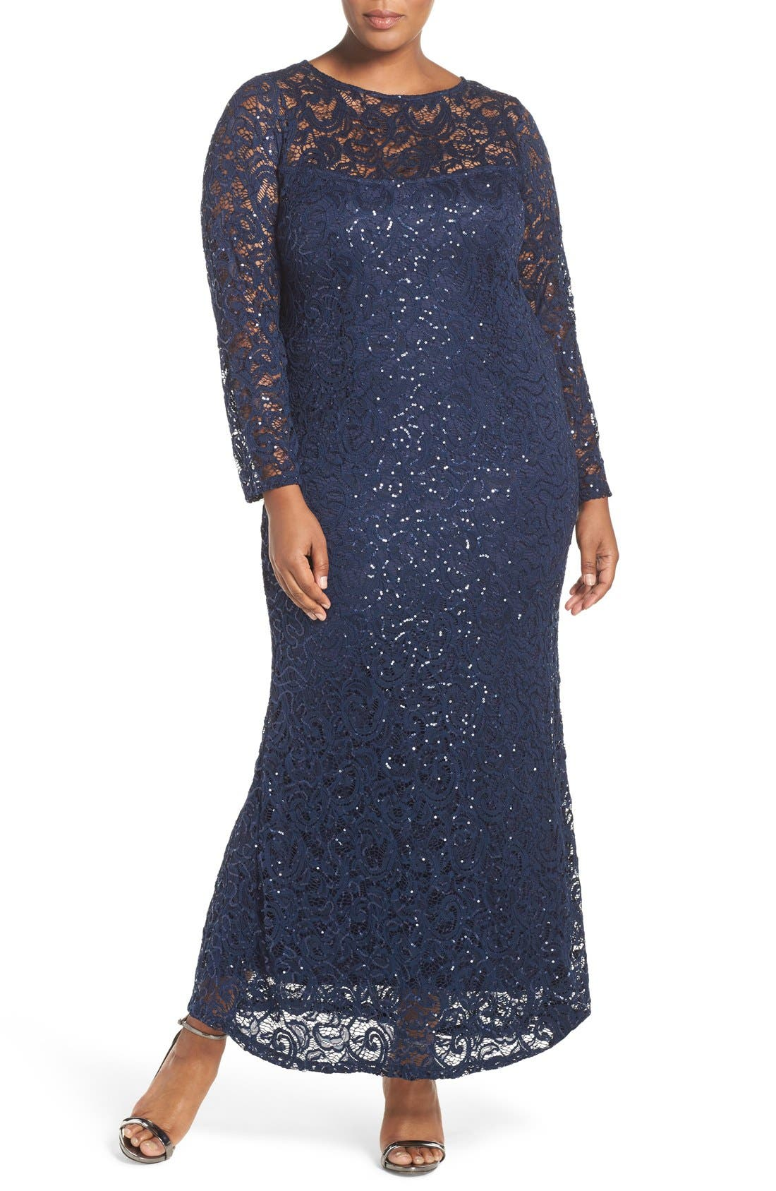 Marina Illusion Yoke & Long Sleeve Lace Gown (Plus Size)