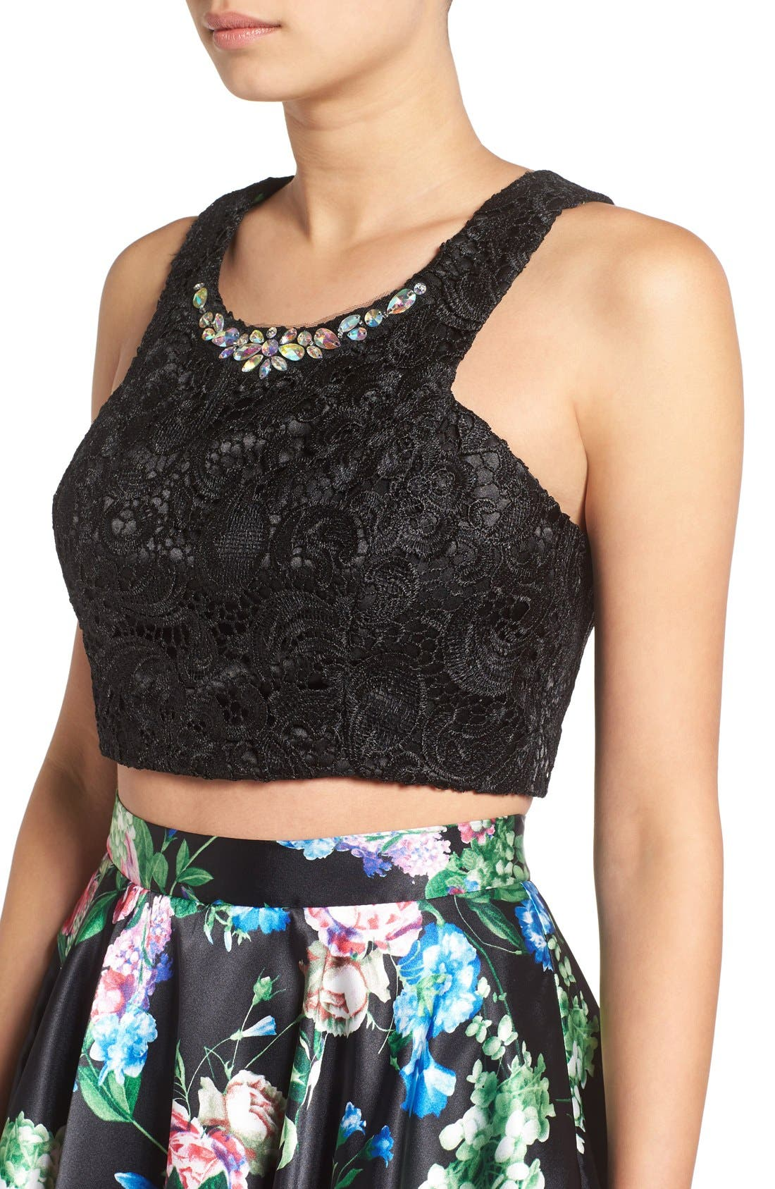 Alternate Image 4  - Steppin Out Lace & Floral Two-Piece Dress