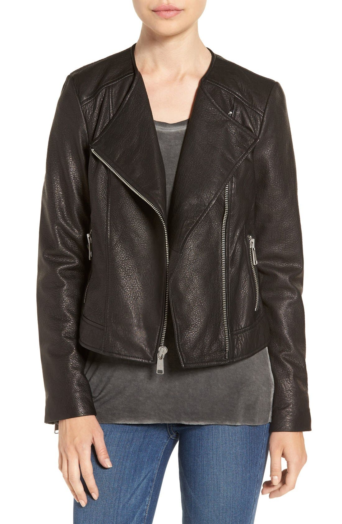 Main Image - Andrew Marc 'Riley' Textured Leather Moto Jacket