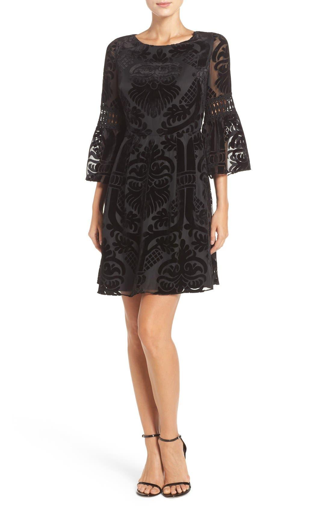 Alternate Image 4  - Eliza J Burnout Velvet Fit & Flare Dress (Regular & Petite)