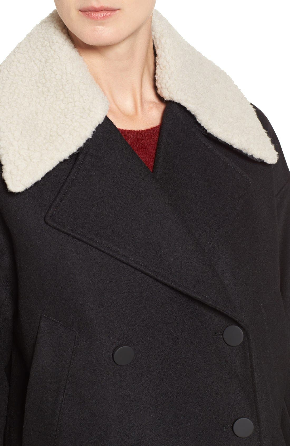 Alternate Image 4  - Andrew Marc Cocoon Coat with Faux Shearling Collar