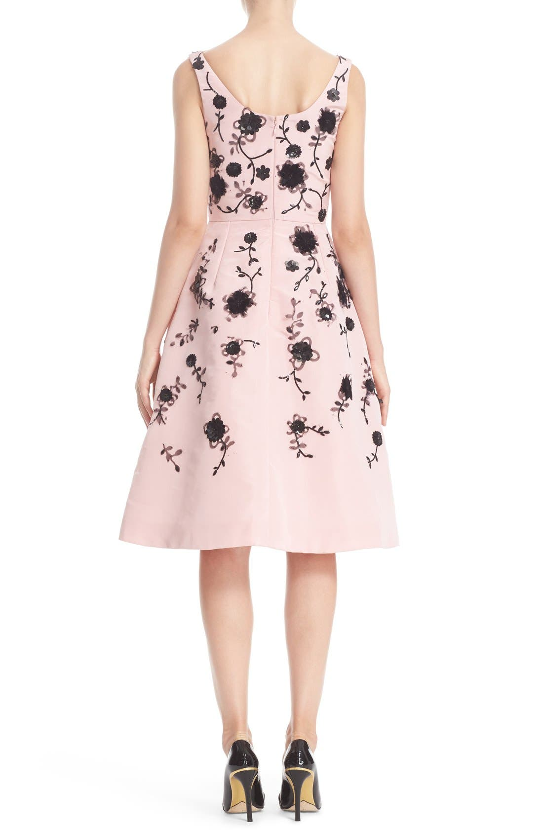 Alternate Image 2  - Oscar de la Renta Floral Embroidered Silk Cocktail Dress
