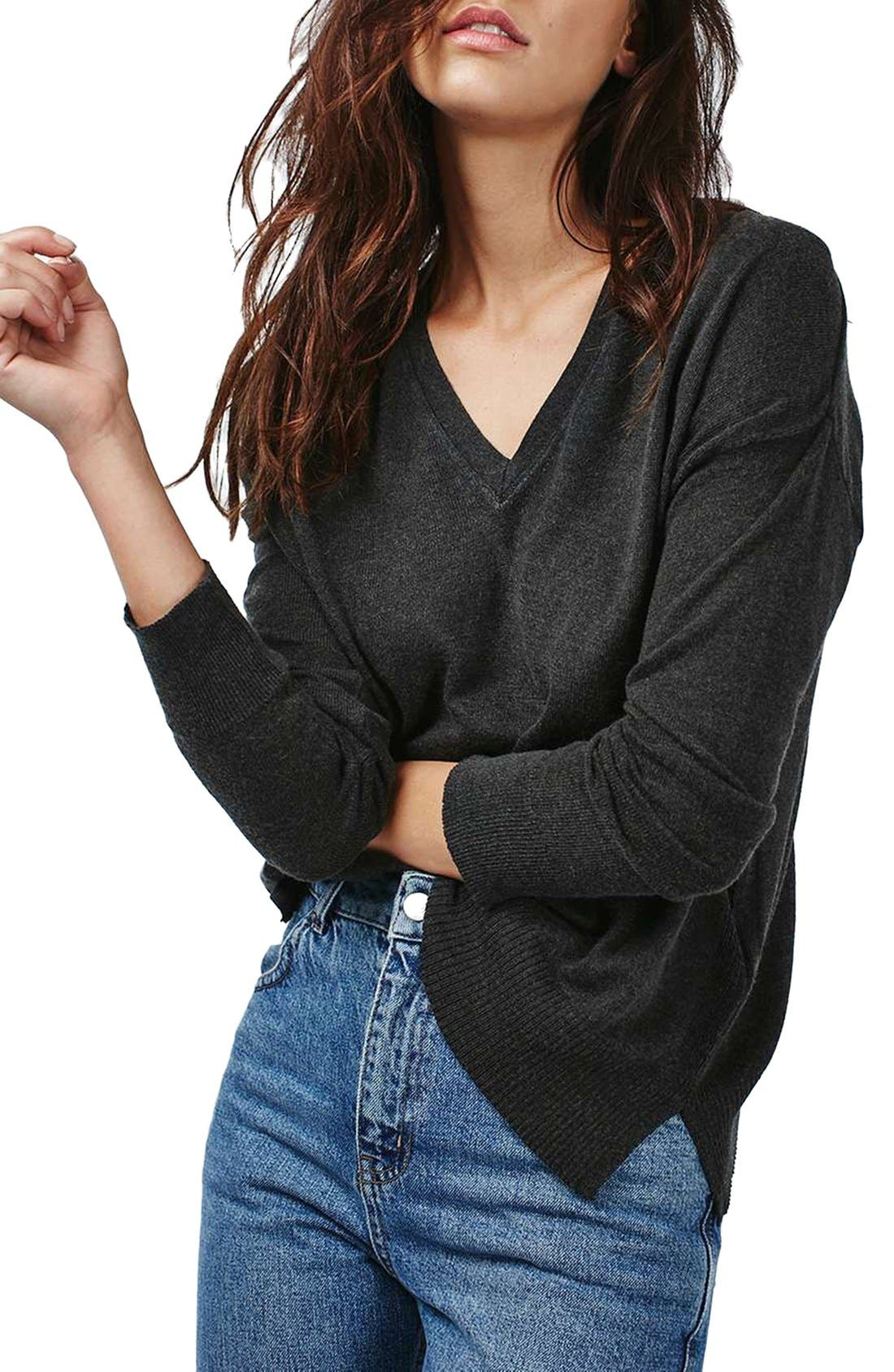 Alternate Image 1 Selected - Topshop Slouchy V-Neck Sweater