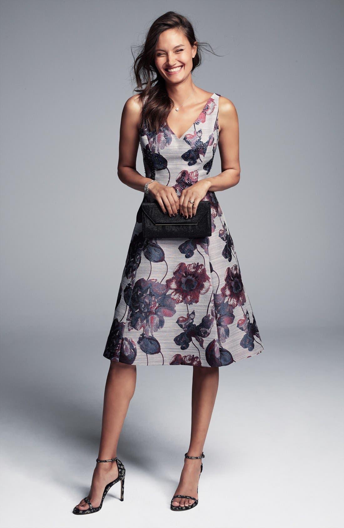 Alternate Image 2  - Adrianna Papell Floral Print Fit & Flare Dress (Regular & Petite)